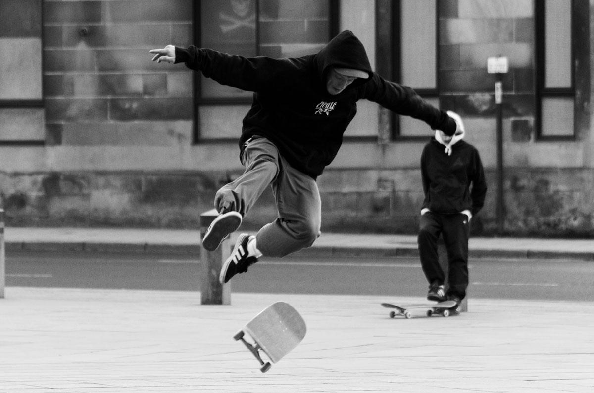 Skateboarder at the Kelvingrove Museum, Glasgow