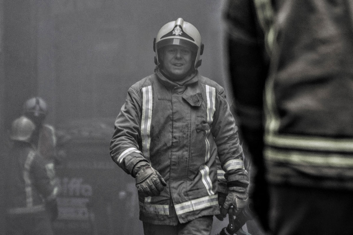 Glasgow Firefighter on the day Victoria's on Sauchiehall Street burned down.
