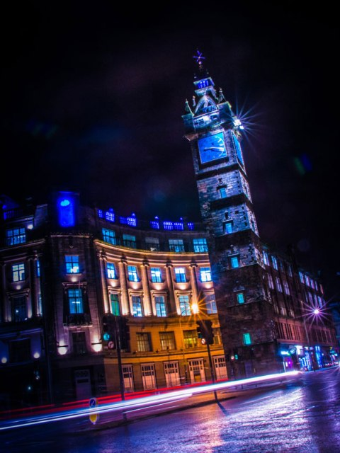 Glasgow Cross Tolbooth Steeple Night Time