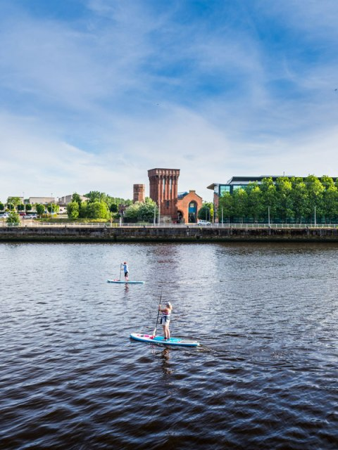 Stand Up Paddle Boarders on the River Clyde SUP Glasgow