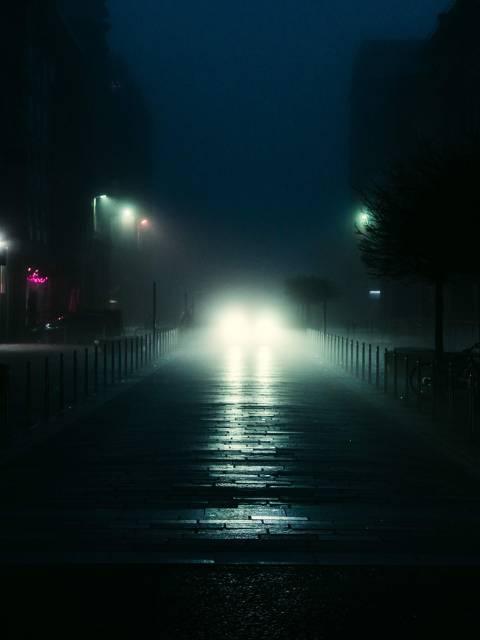 Brunswick Street Glasgow Headlights in Fog horror cover