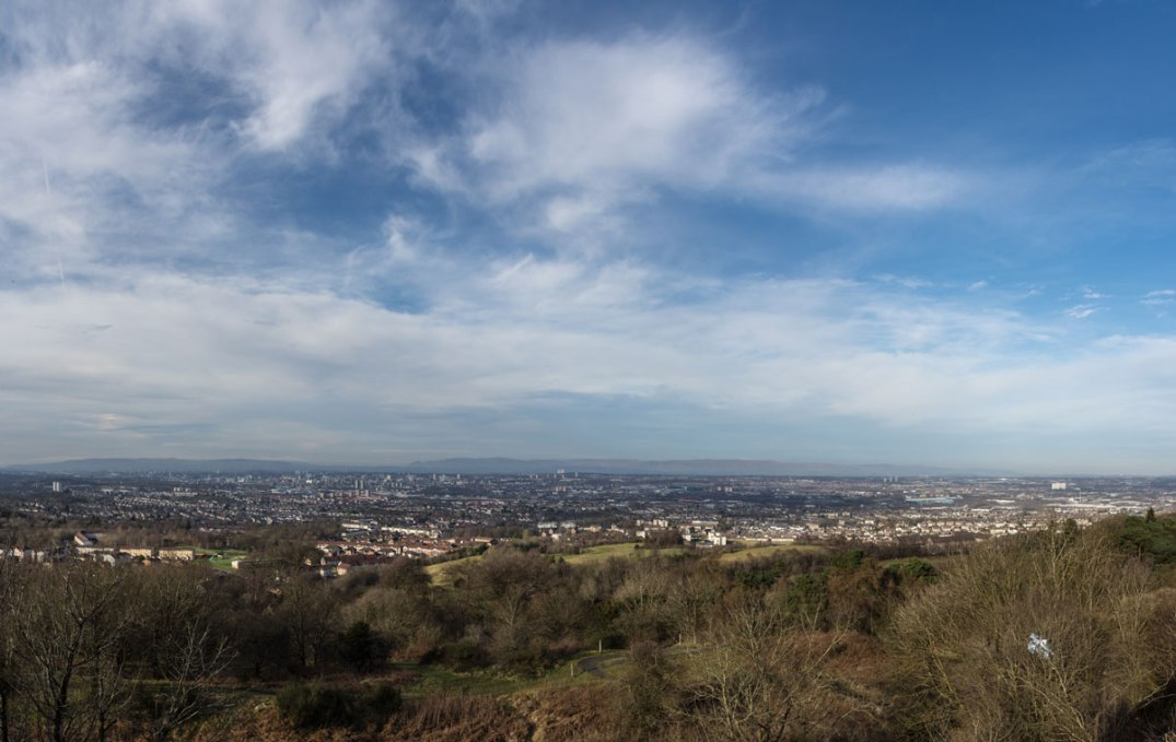 The view over Glasgow from Cathkin Braes