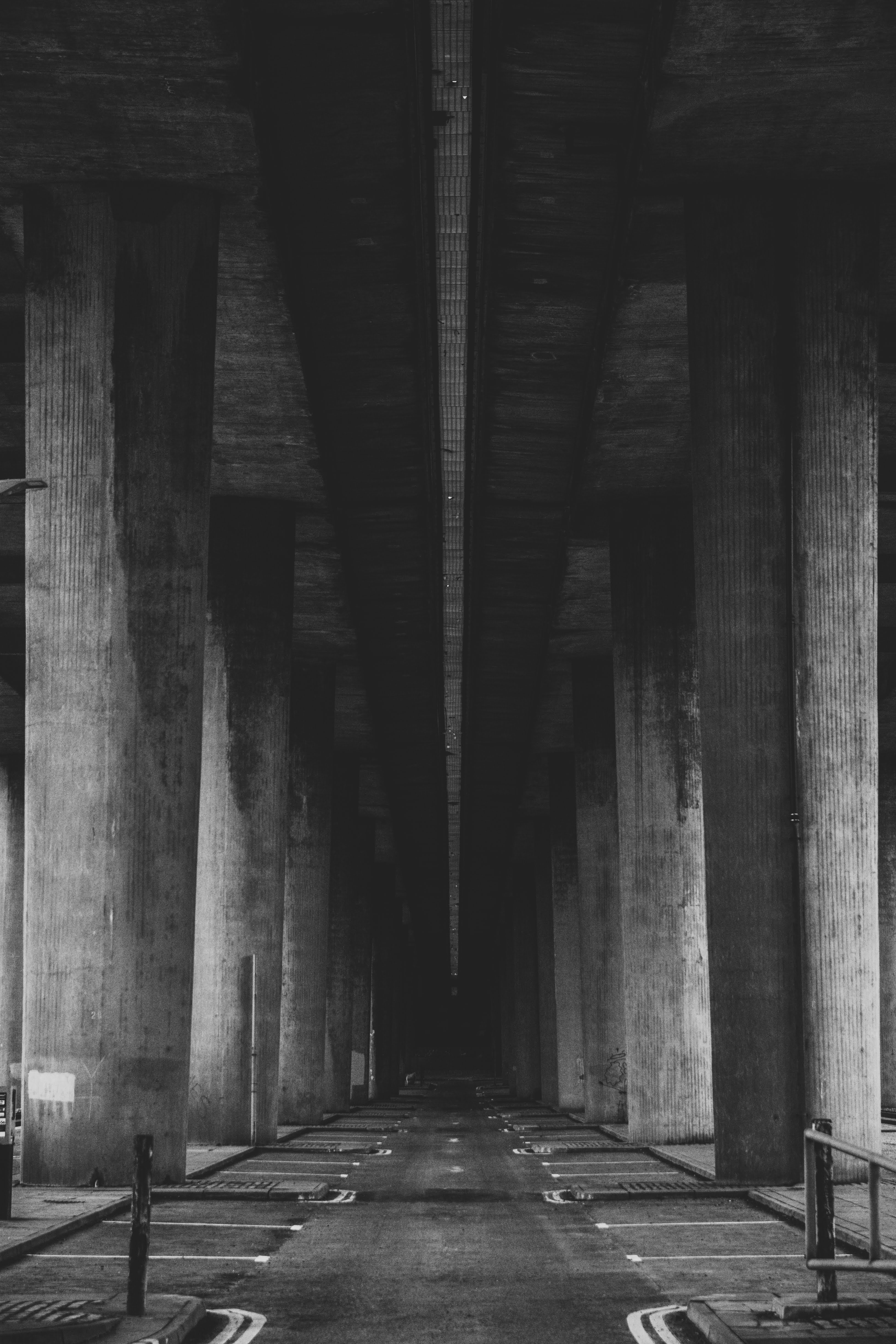 Kingston Bridge Car Park Glasgow black and white photo dark