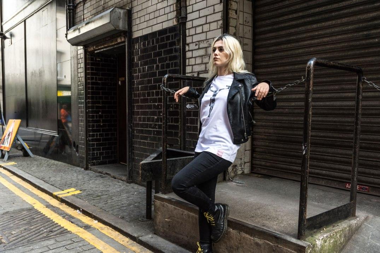 Laura modelling the Uzi Jesus by No Pretty City