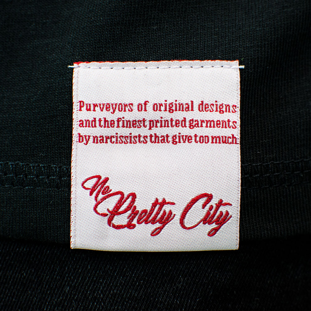 Label Detail on the No Pretty City T-Shirt Range